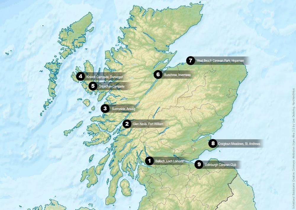 Übernachtungen mit dem Wohnmobil durch Schottland