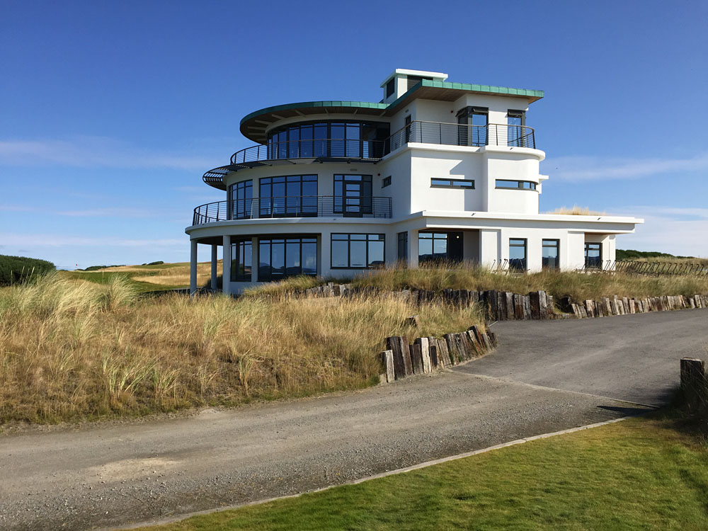 Das Clubhouse des Castle Stuart Golf Club