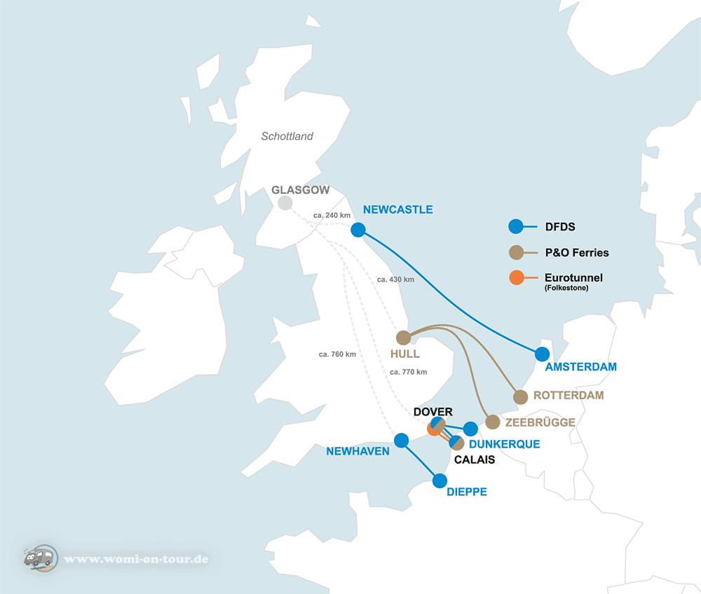 Fähren zum Überqueren des Ärmelkanals auf dem Weg nach Schottland