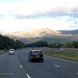 Autobahn im Norden Englands auf dem Weg nach Schottland