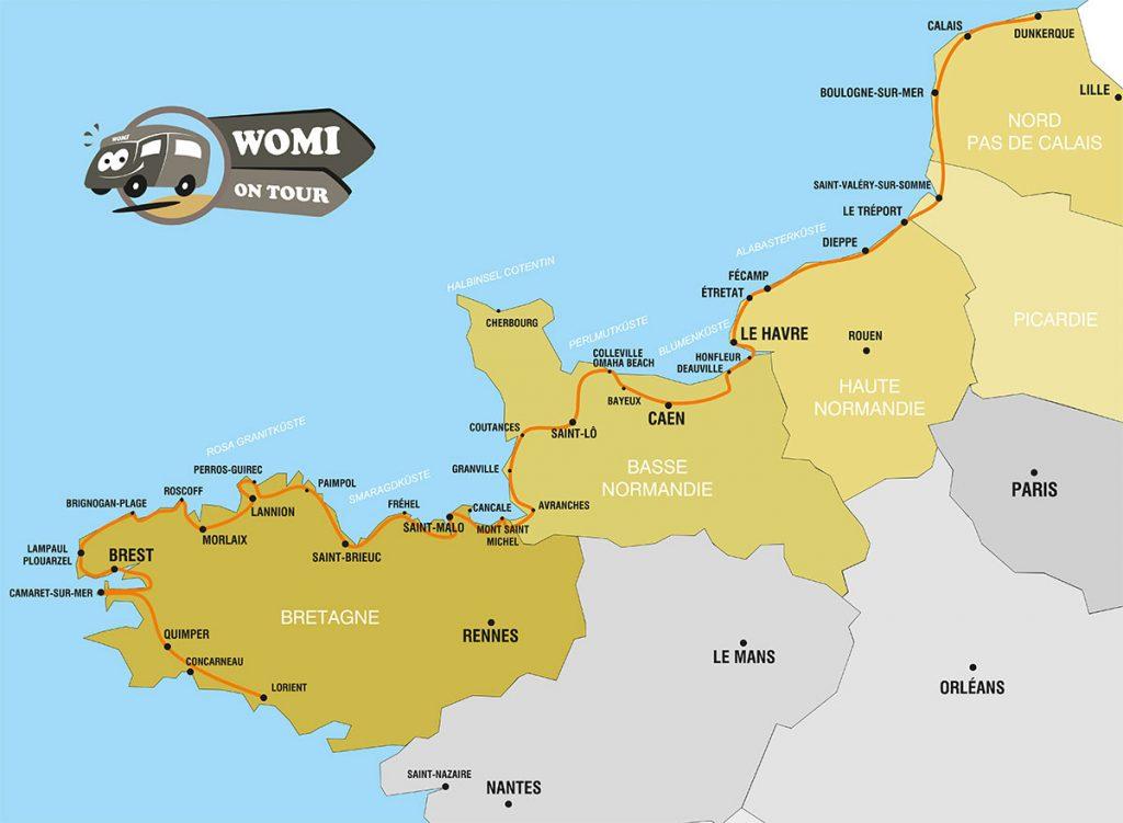 Karte mit dem Wohnmobil durch die Bretagne und Normandie